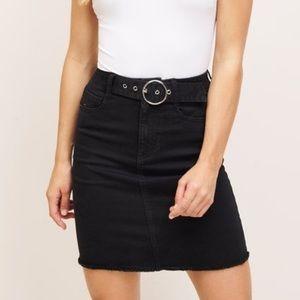 Dynamite Denim Skirt | Black Denim | Belted Skirt